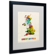 "Trademark Michael Tompsett ""UK Watercolor Map"" Art, White Matte W/Black Frame, 16"" x 20"""