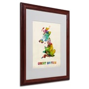 "Trademark Michael Tompsett ""UK Watercolor Map"" Art, White Matte W/Wood Frame, 16"" x 20"""