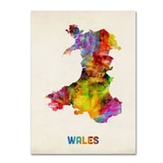 """Trademark Michael Tompsett """"Wales Watercolor Map"""" Gallery-Wrapped Canvas Art, 18"""" x 24"""""""