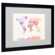 "Trademark Michael Tompsett ""Poltical Watercolor Map"" Art, White Matte W/Black Frame, 16"" x 20"""
