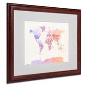"Trademark Michael Tompsett ""Poltical Watercolor Map"" Art, White Matte W/Wood Frame, 16"" x 20"""
