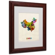 "Trademark Michael Tompsett ""China Watercolor Map"" Art, White Matte W/Wood Frame, 11"" x 14"""