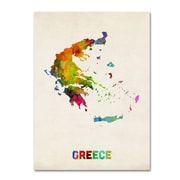 "Trademark Michael Tompsett ""Greece Watercolor Map"" Gallery-Wrapped Canvas Art, 18"" x 24"""