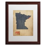 "Trademark Michael Tompsett ""Minnesota Map Denim Jeans.."" Art, White Matte W/Wood Frame, 16"" x 20"""