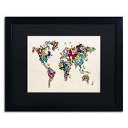 Trademark Michael Tompsett Butterflies Map of..World II Art, Black Matte W/Black Frame, 16 x 20