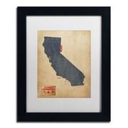 """Trademark Michael Tompsett """"California Map Denim Jeans.."""" Art, White Matte W/Black Frame, 11"""" x 14"""""""