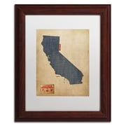 "Trademark Michael Tompsett ""California Map Denim Jeans.."" Art, White Matte W/Wood Frame, 11"" x 14"""