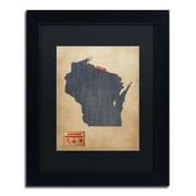 """Trademark Michael Tompsett """"Wisconsin Map Denim Jeans.."""" Art, Black Matte W/Black Frame, 11"""" x 14"""""""