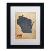 """Trademark Michael Tompsett """"Wisconsin Map Denim Jeans.."""" Art, White Matte W/Black Frame, 11"""" x 14"""""""