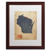 """Trademark Michael Tompsett """"Wisconsin Map Denim Jeans.."""" Art, White Matte W/Wood Frame, 16"""" x 20"""""""