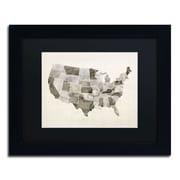 "Trademark Michael Tompsett ""United States Watercolor Map"" Art, Black Matte W/Black Frame, 11"" x 14"""