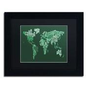 "Trademark Michael Tompsett ""Text Map of the World"" Art, Black Matte W/Black Frame, 11"" x 14"""