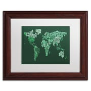 "Trademark Michael Tompsett ""Text Map of the World"" Art, White Matte W/Wood Frame, 11"" x 14"""