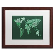 "Trademark Michael Tompsett ""Text Map of the World"" Art, White Matte W/Wood Frame, 16"" x 20"""