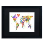 "Trademark Michael Tompsett ""Paint Splashes Text..World"" Art, Black Matte W/Black Frame, 16"" x 20"""