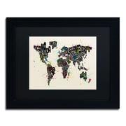 """Trademark Michael Tompsett """"Paint Splashes..World II"""" Art, Black Matte W/Black Frame, 11"""" x 14"""""""