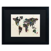 "Trademark Michael Tompsett ""Paint Splashes..World II"" Art, Black Matte W/Black Frame, 16"" x 20"""