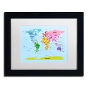 """Trademark Michael Tompsett """"World Map for Kids"""" Art, White Matte W/Black Frame, 11"""" x 14"""""""