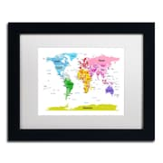 """Trademark Michael Tompsett """"World Map for Kids II"""" Art, White Matte W/Black Frame, 11"""" x 14"""""""