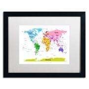 """Trademark Michael Tompsett """"World Map for Kids II"""" Art, White Matte W/Black Frame, 16"""" x 20"""""""