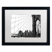 "Trademark CATeyes ""Brooklyn Bridge 4"" Art, White Matte W/Black Frame, 16"" x 20"""