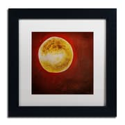 "Trademark Nicole Dietz ""Moon on Red"" Art, White Matte With Black Frame, 11"" x 11"""