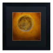 "Trademark Nicole Dietz ""Moon on Yellow"" Art, Black Matte With Black Frame, 16"" x 16"""