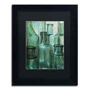 "Trademark Patty Tuggle ""Antique Bottles"" Art, Black Matte With Black Frame, 11"" x 14"""