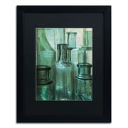 "Trademark Patty Tuggle ""Antique Bottles"" Art, Black Matte With Black Frame, 16"" x 20"""