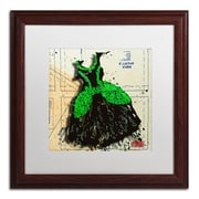 "Trademark Roderick Stevens ""Black n Green Swirls"" Art, White Matte With Wood Frame, 16"" x 16"""