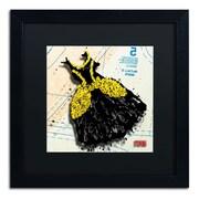 "Trademark Roderick Stevens ""Black n Yellow Swirls"" Art, Black Matte With Black Frame, 16"" x 16"""
