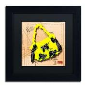 "Trademark Roderick Stevens ""Bow Purse Black on Yellow"" Art, Black Matte With Black Frame, 11"" x 11"""