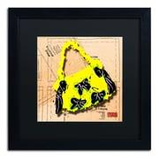 "Trademark Roderick Stevens ""Bow Purse Black on Yellow"" Art, Black Matte With Black Frame, 16"" x 16"""