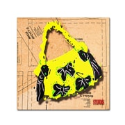 """Trademark Roderick Stevens """"Bow Purse Black on Yellow"""" Gallery-Wrapped Canvas Art, 35"""" x 35"""""""