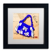 "Trademark Roderick Stevens ""Bow Purse White on Blue"" Art, White Matte With Black Frame, 11"" x 11"""