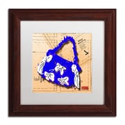 "Trademark Roderick Stevens ""Bow Purse White on Blue"" Art, White Matte With Wood Frame, 11"" x 11"""