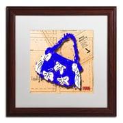"Trademark Roderick Stevens ""Bow Purse White on Blue"" Art, White Matte With Wood Frame, 16"" x 16"""