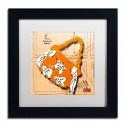 """Trademark Roderick Stevens """"Bow Purse White on Orange"""" Art, White Matte With Black Frame, 11"""" x 11"""""""