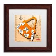 "Trademark Roderick Stevens ""Bow Purse White on Orange"" Art, White Matte With Wood Frame, 11"" x 11"""