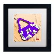 "Trademark Roderick Stevens ""Bow Purse White on Purple"" Art, White Matte With Black Frame, 11"" x 11"""