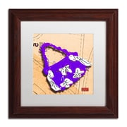 "Trademark Roderick Stevens ""Bow Purse White on Purple"" Art, White Matte With Wood Frame, 11"" x 11"""