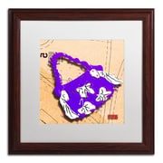 "Trademark Roderick Stevens ""Bow Purse White on Purple"" Art, White Matte With Wood Frame, 16"" x 16"""