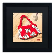 "Trademark Roderick Stevens ""Bow Purse White on Red"" Art, Black Matte With Black Frame, 16"" x 16"""