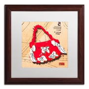 "Trademark Roderick Stevens ""Bow Purse White on Red"" Art, White Matte With Wood Frame, 16"" x 16"""