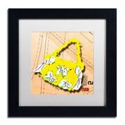 "Trademark Roderick Stevens ""Bow Purse White on Yellow"" Art, White Matte With Black Frame, 11"" x 11"""