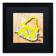 "Trademark Roderick Stevens ""Bow Purse White on Yellow"" Art, Black Matte With Black Frame, 16"" x 16"""
