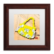 """Trademark Roderick Stevens """"Bow Purse White on Yellow"""" Art, White Matte With Wood Frame, 11"""" x 11"""""""