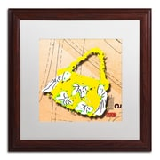 """Trademark Roderick Stevens """"Bow Purse White on Yellow"""" Art, White Matte With Wood Frame, 16"""" x 16"""""""