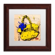 "Trademark Roderick Stevens ""Flower Purse Blue on Yellow"" Art, White Matte W/Wood Frame, 11"" x 11"""