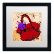 "Trademark Roderick Stevens ""Flower Purse Purple on Red"" Art, White Matte W/Black Frame, 16"" x 16"""